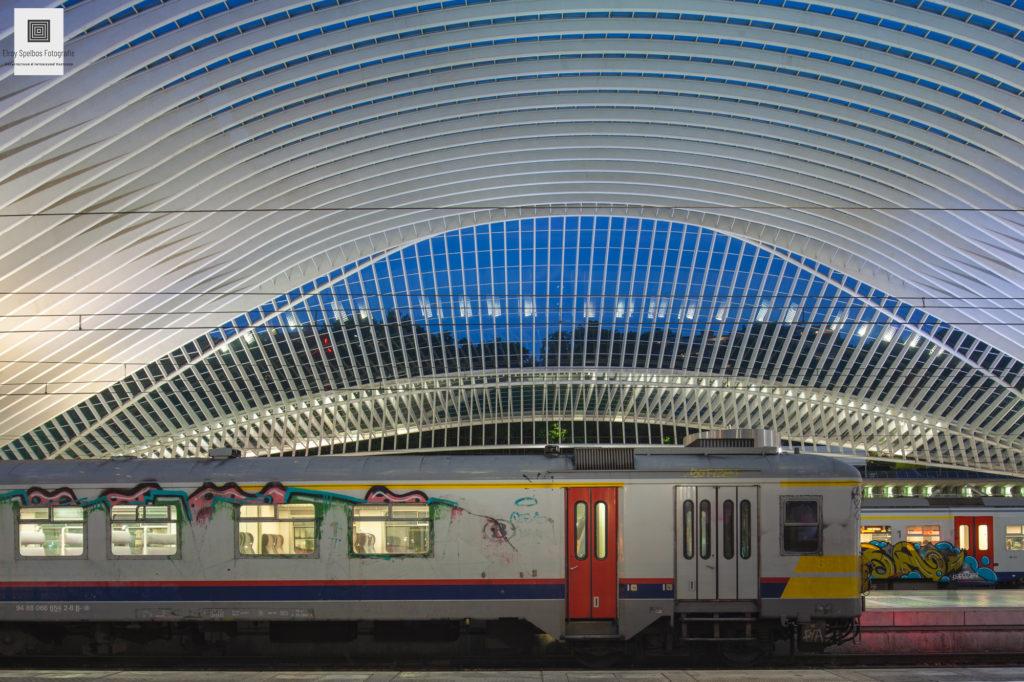 Een trein op het perron van station Luik-Guillemins